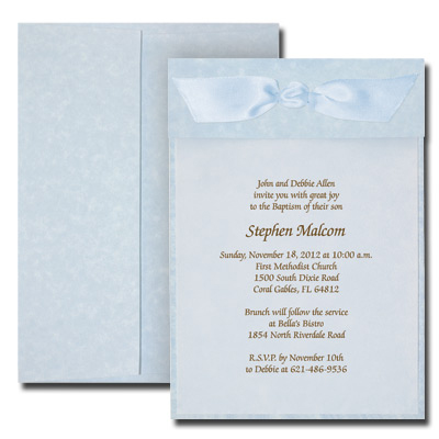 Parchment Blue Invitation with Vellum