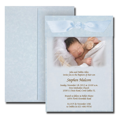 Parchment Blue Photo Invitation with Vellum