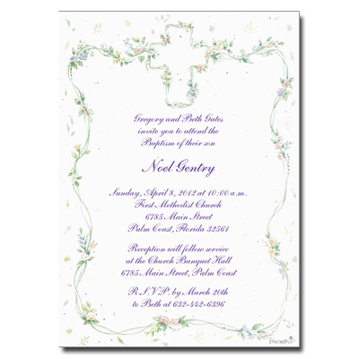 Cross Floral Invitation