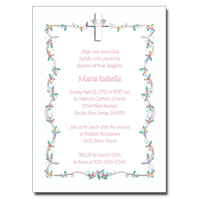 Cross with Flowered Border Invitation