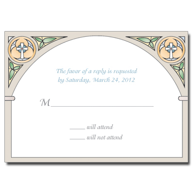 Stained Glass Blue Response Card