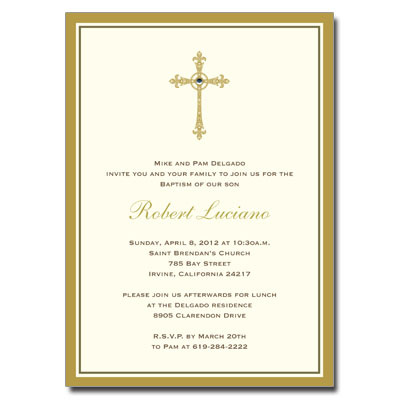 Gold Filigree Jewel Cross Invitation Baptism Invitations