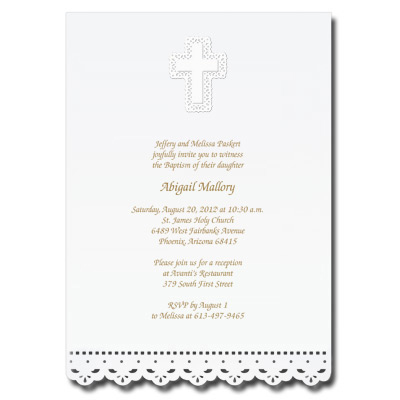 Lace Cut Invitation with Cross