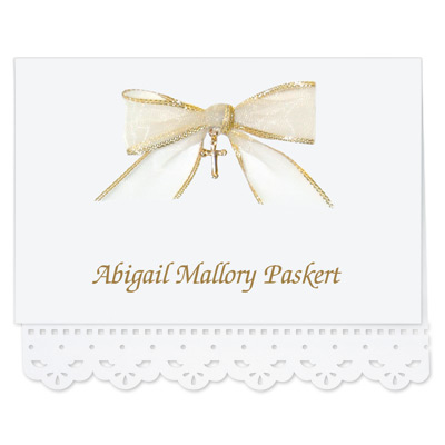 Lace Cut Note Card with Bow