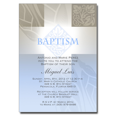 Pastel Boy Cross Invitation - Baptism