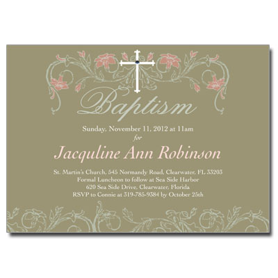 Jeweled Peach Flora Invitation - Baptism