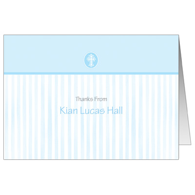 Scalloped Blue Border Note Card