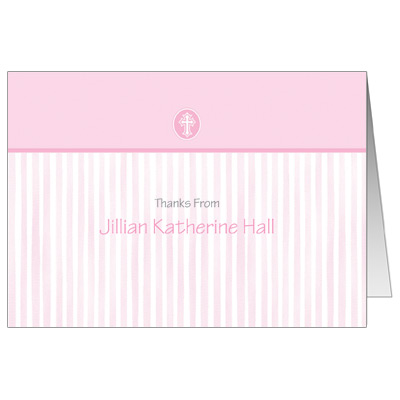 Scalloped Pink Border Note Card