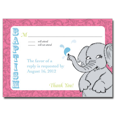 Elephant Splash Response Card - Baptism