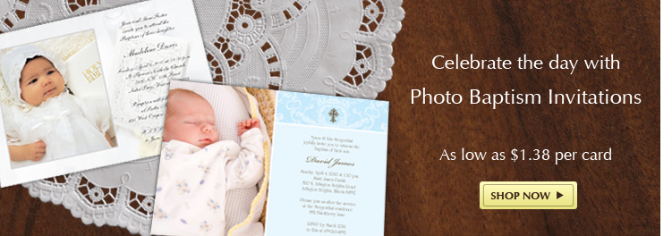 Baptism Photo Invitations as low as $1.35 per card