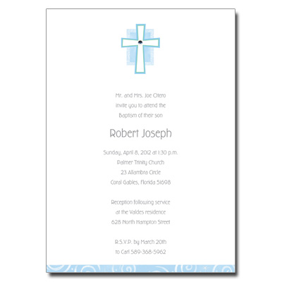 Cross Jewel Blue Invitation
