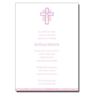 Cross Jewel Pink Invitation