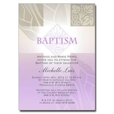 Pastel Girl Cross Invitation - Baptism