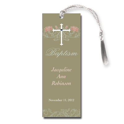 Jeweled Peach Flora Bookmark - Baptism