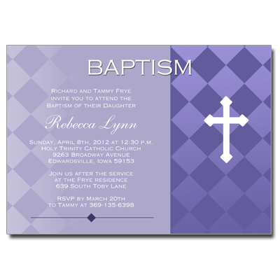 Purple Argyle Invitation - Baptism