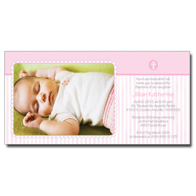 Scalloped Pink Border Invitation
