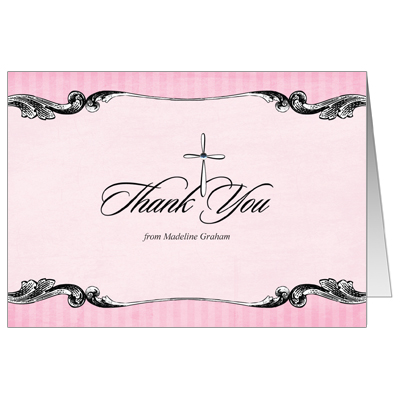 Ornate Jewel Cross Pink Thank You